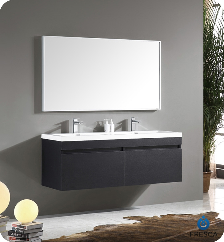 Fresca Largo Black Modern Bathroom Vanity w/ Wavy Double Sinks with delivery to UK