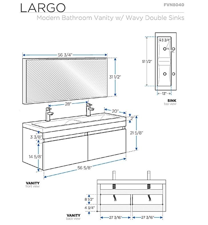 Fresca Largo Gray Oak Modern Bathroom Vanity w/ Wavy Double Sinks with delivery to UK