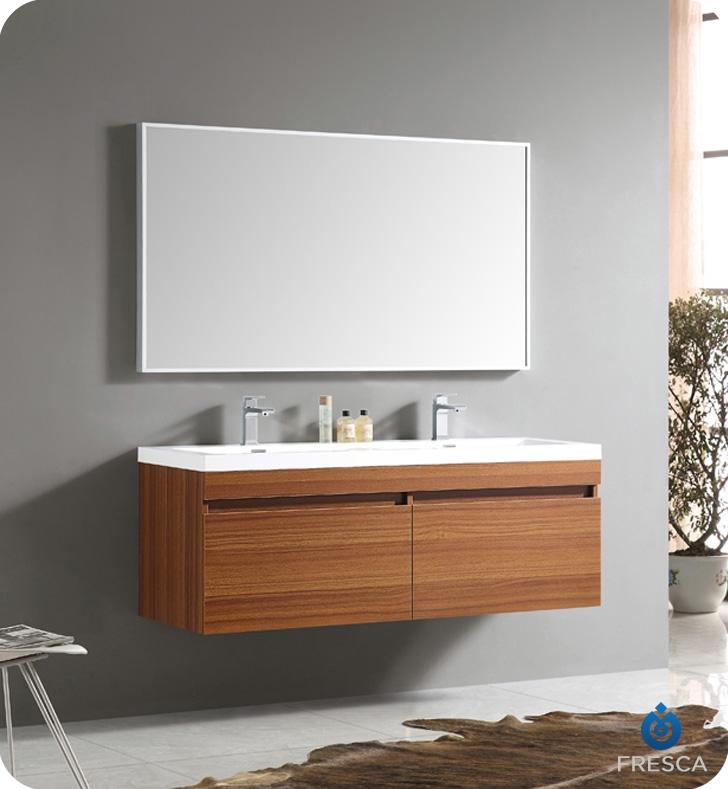 Fresca Largo Teak Modern Bathroom Vanity w/ Wavy Double Sinks with delivery to UK