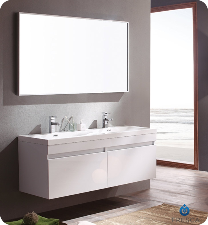 Fresca Largo White Modern Bathroom Vanity w/ Wavy Double Sinks with delivery to UK