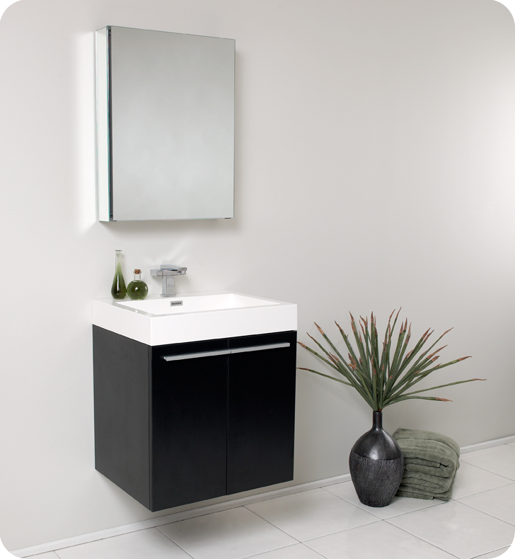 Fresca Alto Black Modern Bathroom Vanity w/ Medicine Cabinet with delivery to UK