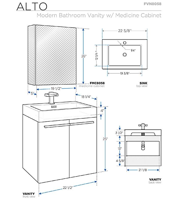Fresca Alto Walnut Modern Bathroom Vanity w/ Medicine Cabinet with delivery to UK