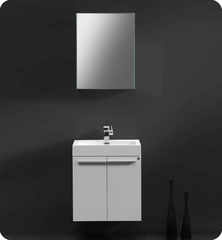 Fresca Alto White Modern Bathroom Vanity w/ Medicine Cabinet with delivery to UK