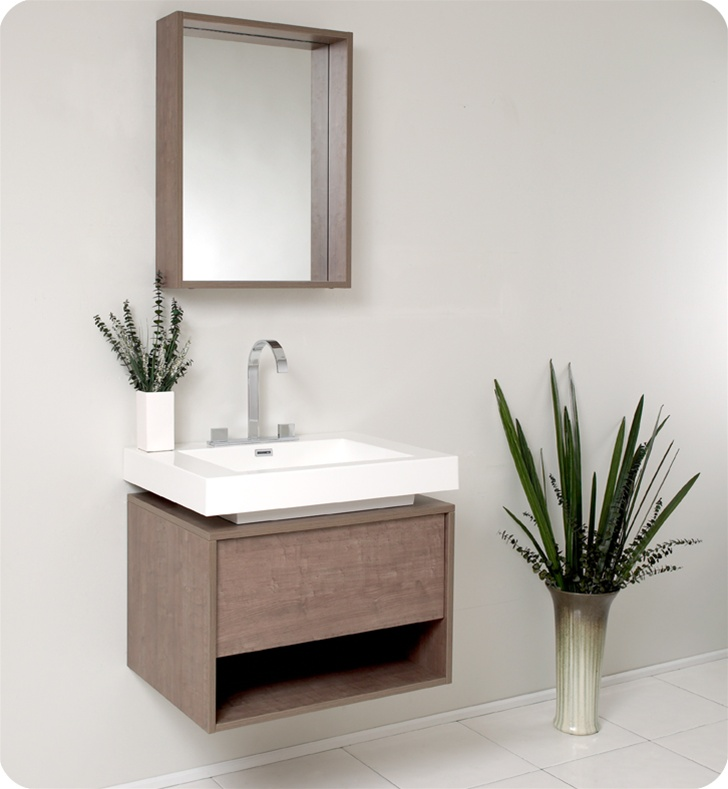 Fresca Potenza Gray Oak Modern Bathroom Vanity w/ Pop Open Drawer with delivery to UK