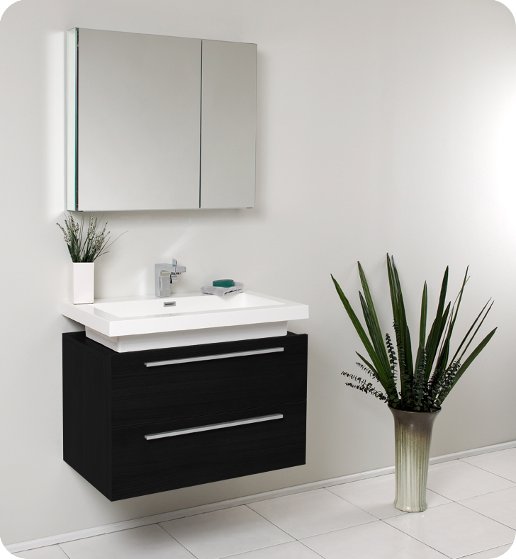 Fresca Medio Black Modern Bathroom Vanity w/ Medicine Cabinet with delivery to UK