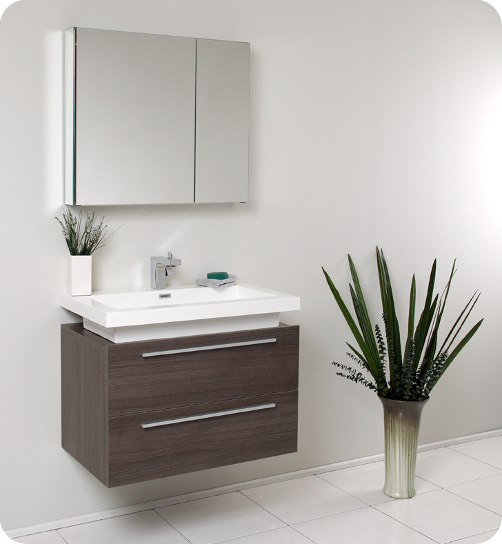 Fresca Medio Gray Oak Modern Bathroom Vanity w/ Medicine Cabinet with delivery to UK