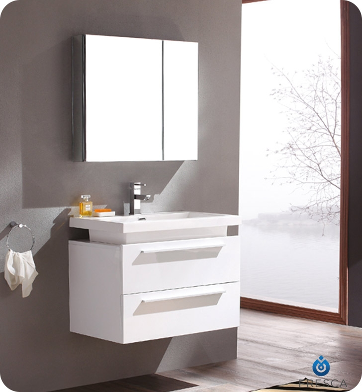 Fresca Medio White Modern Bathroom Vanity w/ Medicine Cabinet with delivery to UK