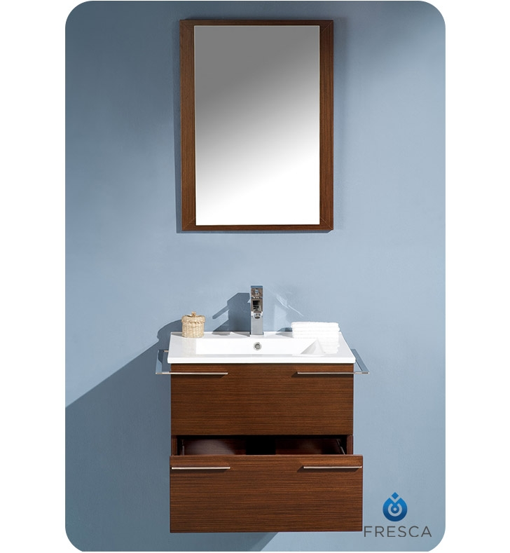 Fresca Cielo  Wenge Brown Modern Bathroom Vanity w/ Mirror with delivery to UK