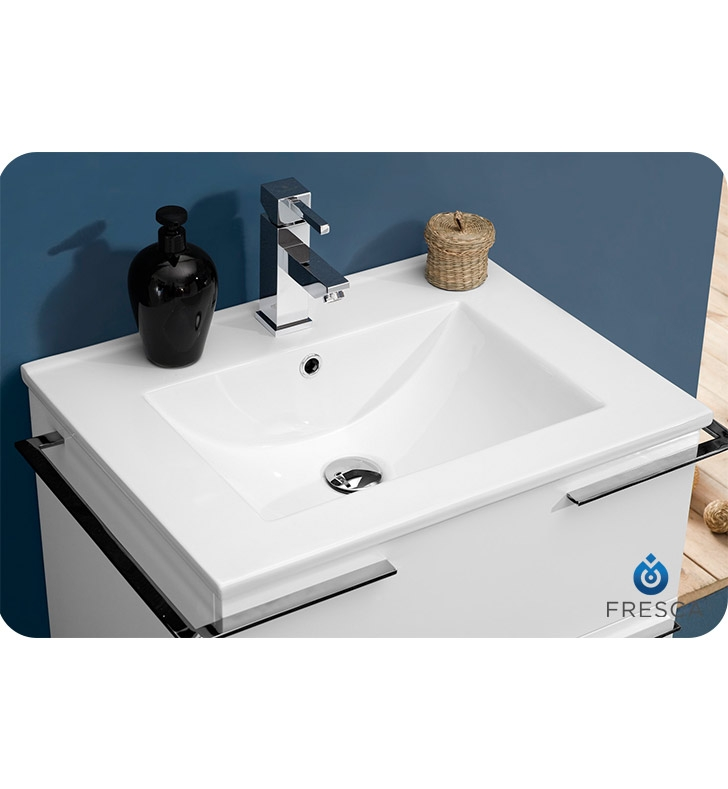Fresca Cielo  White Modern Bathroom Vanity w/ Mirror with delivery to UK