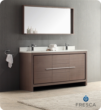 Fresca Allier  Gray Oak Modern Double Sink Bathroom Vanity w/ Mirror with delivery to UK