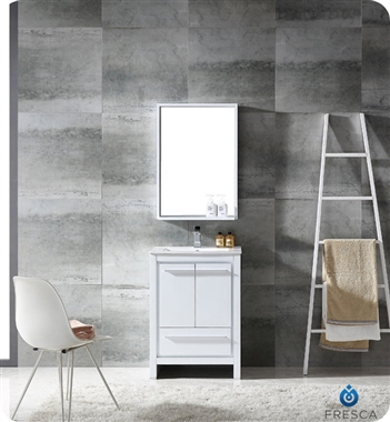 Fresca Allier  White Modern Bathroom Vanity w/ Mirror with delivery to UK