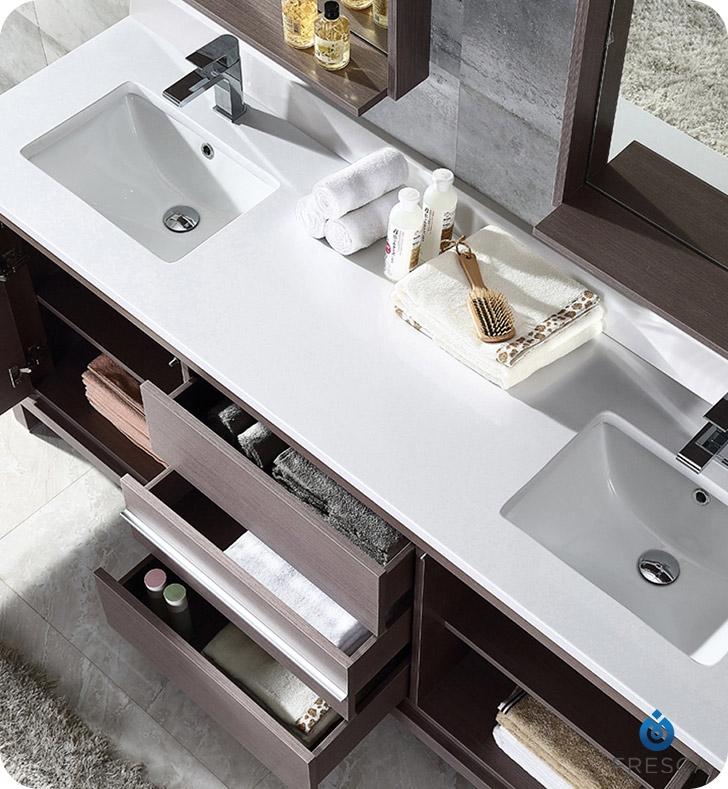 Fresca Allier  Gray Oak Modern Double Sink Bathroom Vanity w/ Mirror with delivery to UK