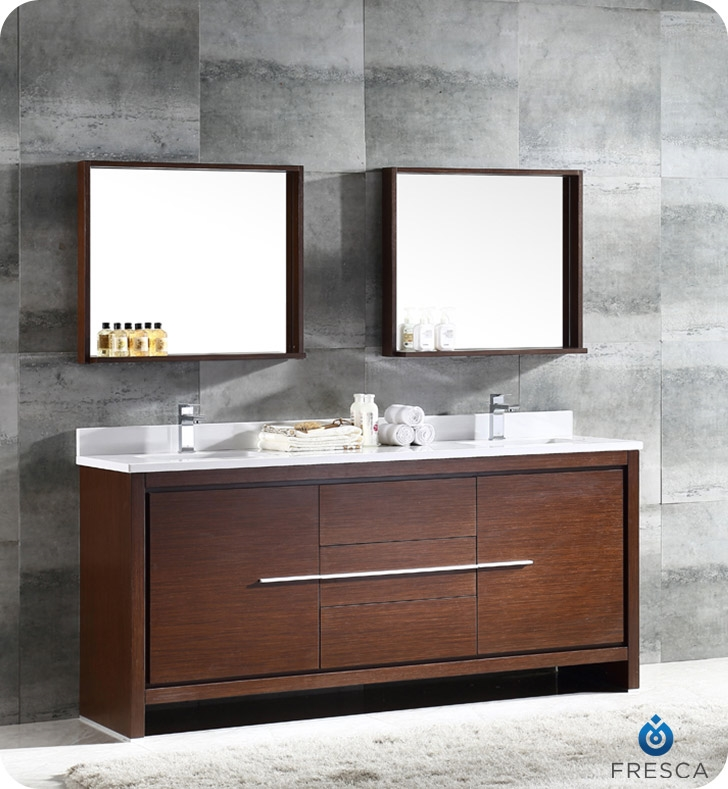 Fresca Allier  Wenge Brown Modern Double Sink Bathroom Vanity w/ Mirror with delivery to UK