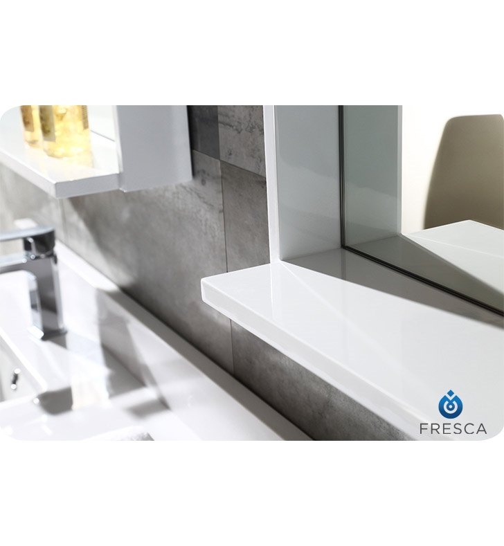Fresca Allier  White Modern Double Sink Bathroom Vanity w/ Mirror with delivery to UK