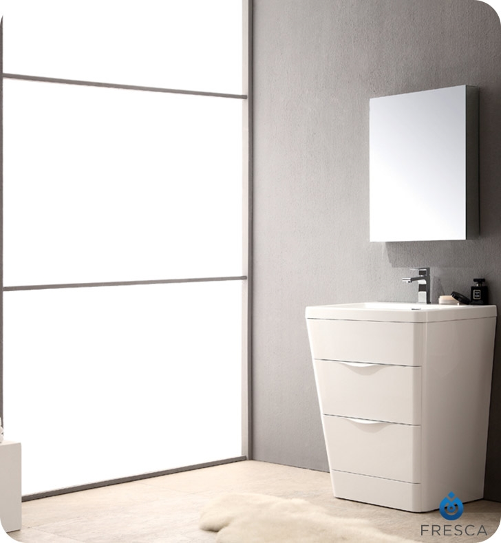 modern white bathroom cabinets. Fresca Milano Glossy White Modern Bathroom Vanity W/ Medicine Cabinet With Delivery To UK Cabinets N
