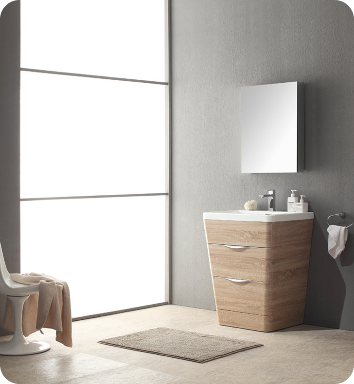 Fresca Milano  White Oak Modern Bathroom Vanity w/ Medicine Cabinet with delivery to UK