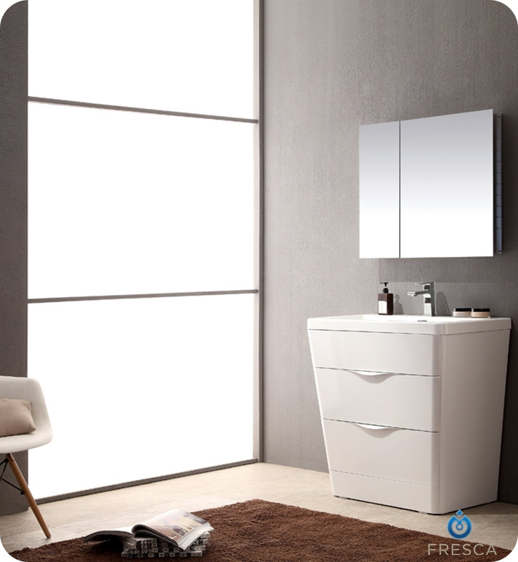 Fresca Milano  Glossy White Modern Bathroom Vanity w/ Medicine Cabinet with delivery to UK